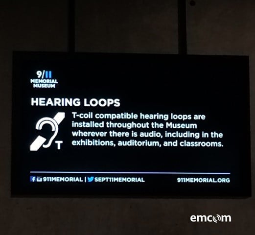 Hearing Loop sign at the 9/11 Memorial Museum